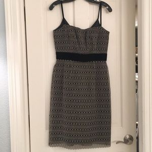 Milly spaghetti strap gold and black dress